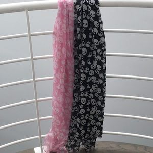 H&M Accessories - H&M skeleton print scarves. blk/white, pink/white